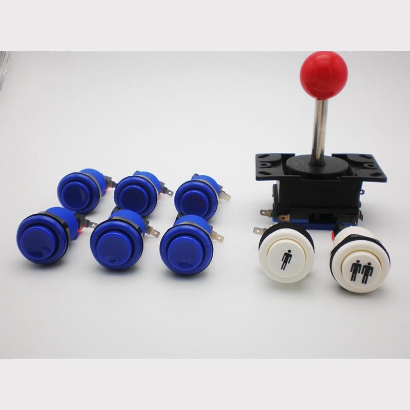 Joystick mit schwarzem Kunststoff Panel und 8 Stück amerikanischen Drucktasten für Arcade DIY Kit Multicade MAME Jamma-Spiel