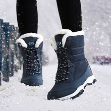 Waterproof Winter Boots Women Plush Inside Round Toe Flat Shoes Snow Slip-On Fashion Ankle Botas Mujer