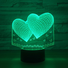 3D Balloons Double Heart Shape LED 3D Night Light Romantic Atmosphere Lamp Lighting Wedding Decoration Lovers Couple Gift