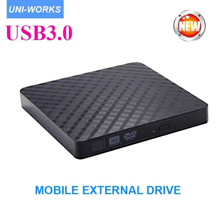 USB3.0 Ultra Mince Portable DVD Graveur Graveur, externe Lecteur DVD Lecteur Optique CD +/-RW DVD +/-RW Superdrive pour notbook