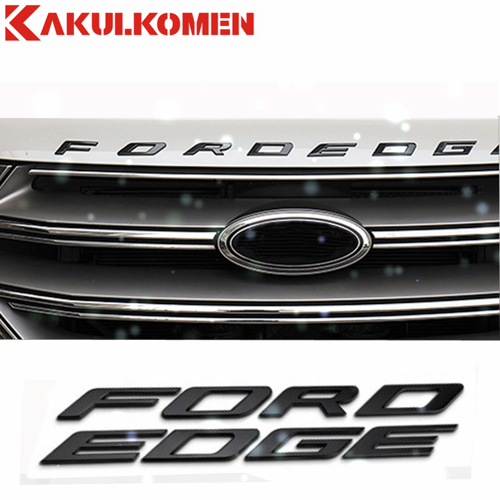 For 2014 2015 2016 2017 Ford EDGE car 3D FORDEDGE Metal Letters Hood Emblem Solid Chrome Silver/Black Chrome Logo Badge Sticker chrome c180 letters for c 180 c class trunk emblem badge sticker