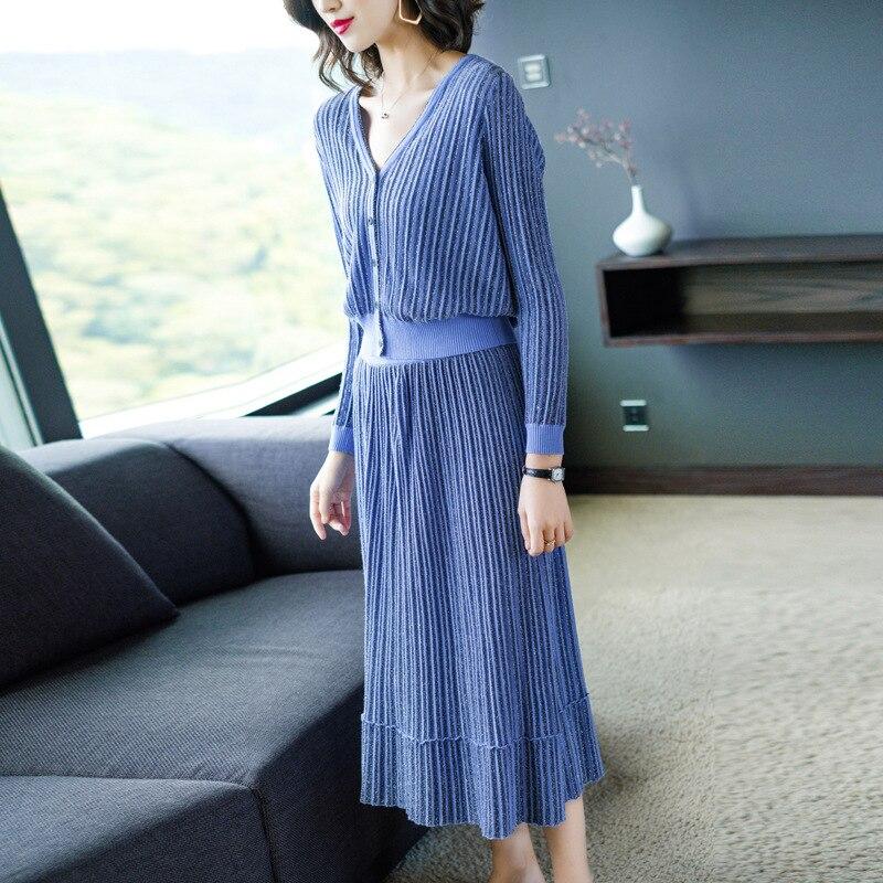 Y Alta Larga Tricotar Las Suéter Cintura Traje púrpura Invierno Trajes De Cardigans Conjuntos Conjunto Otoño Azul 2 Top Falda Mujeres Unidades 2018 Manga OwfPxa