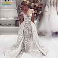 Vestido De Noiva sheer cap sleeve Lace Bridal Gowns Sexy Scoop Lace Detachable Skirt Wedding Dress 2016 Detachable Wedding Dress