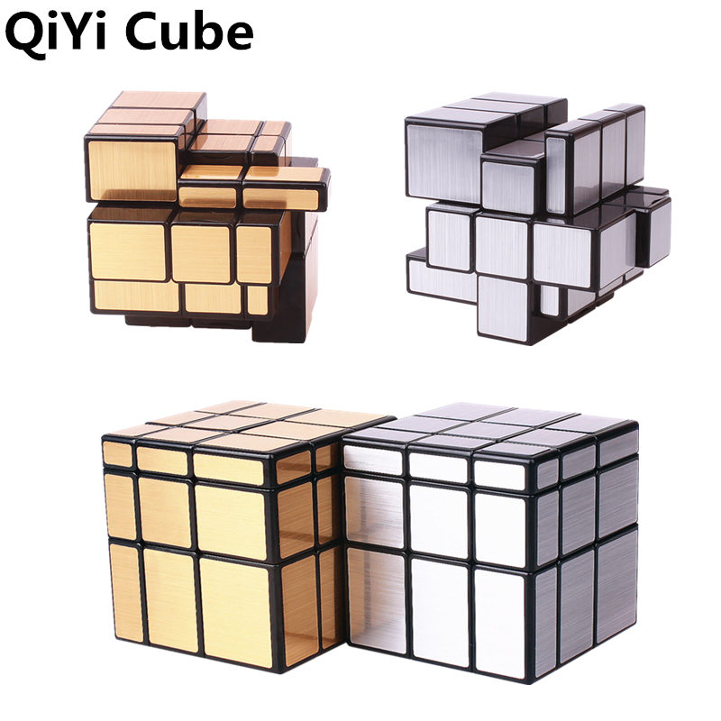 QIYI Mirror Cube 3x3x3 Magic Speed Cube Silver Gold Stickers Professional Puzzle Cubes Toys For Children Mirror Blocks