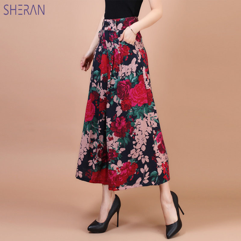 Plus Size 5XL Women Feminina Wide Leg Pant Broeken Woman Linen Skirt Pants 2018 Summer Women Culottes Trousers Ladies Clothing in Pants amp Capris from Women 39 s Clothing