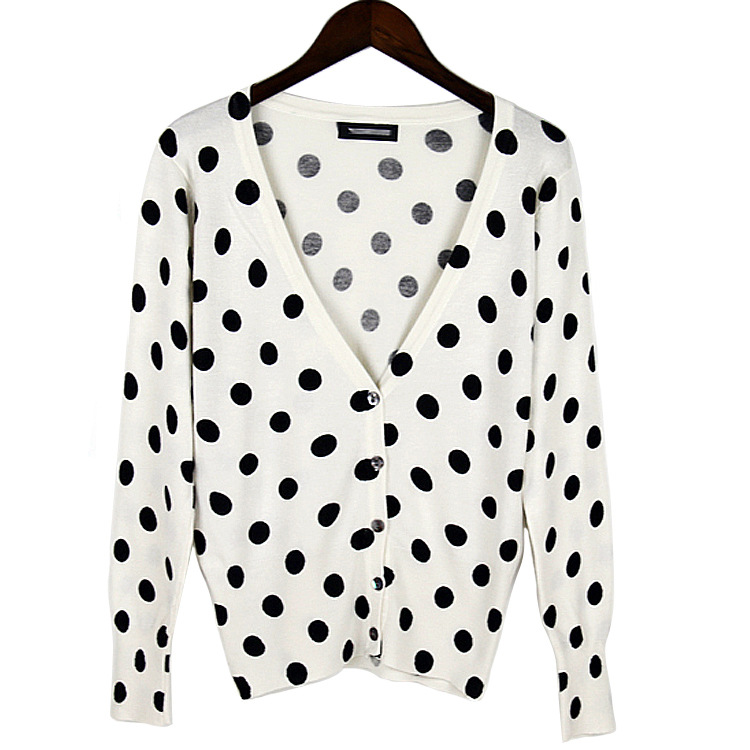 2016 Fashion Sweater Women Cardigan Knit 3D Black and white dot Print V-Neck Pull Femme coat Sweaters