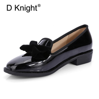 Fashion Casual Bowtie Loafers For Women England Style Ladies Casual Loafers Women Creepers New Patent Women Flats Big Size 32 48