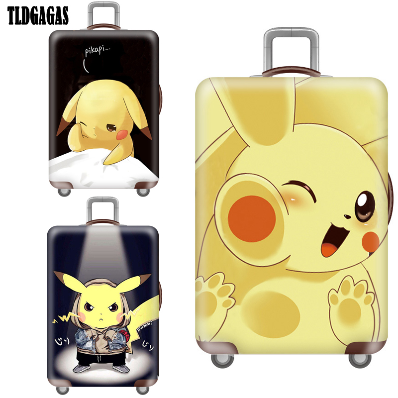 Detective Pikachu Stretch Fabric Luggage Cover Case Suitcase Covers Trolley Baggage Dust Protective Cover Travel Accessories Ins