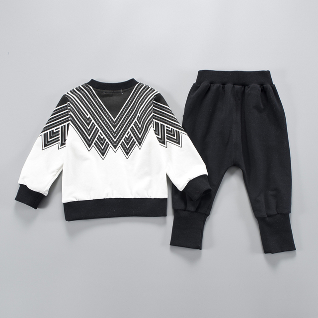2-Piece Fashion Black Striped Design Top with Pants Set for Baby Toddler Boy