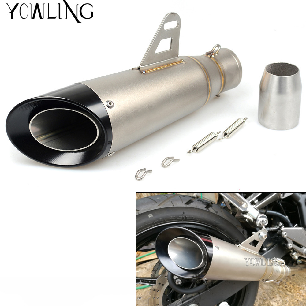 Motorcycle exhaust universal muffler 51mm exhaust stainless steel for Z900 GSXR1000R K8 zx6r MT09 YZF R6 R1 KTM RC390 690 DUKE for 36 51mm universal motorcycle exhaust motorbike exhaust pipes bike muffler for ktm duke 200 390 125 rc125 rc200 rc390 125duk