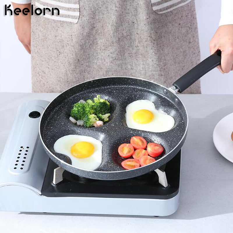 Keelorn 28 Cm Aluminum Non-Stick Frying Pan, Creative Four-Hole Heart Shaped Breakfast Frying Pan Gas Stove Can Be Used