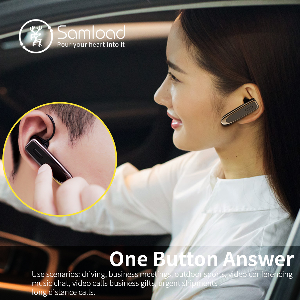 Samload wireless Bluetooth Earphone headset Noise-Canceling Business bluetooth Earphone Wireless  for a  handsfree Mobile phone