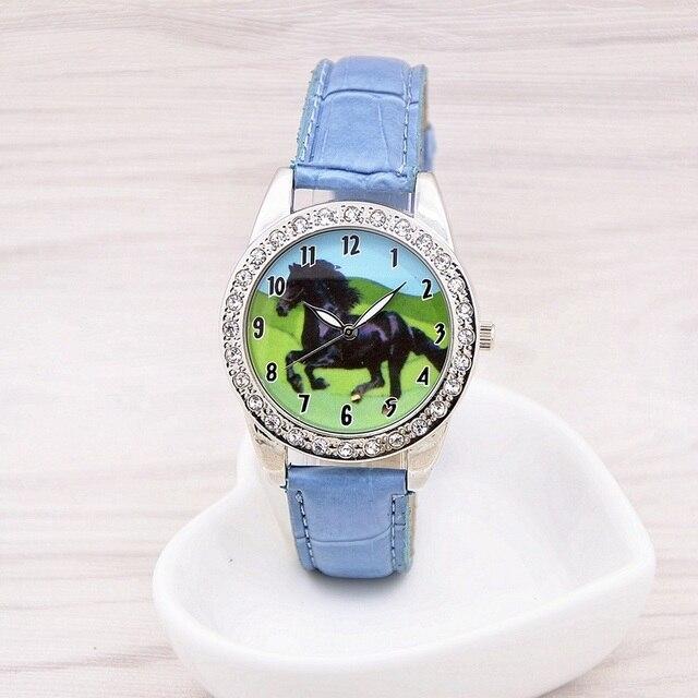 Hot Popular Brand New Black Horse Animal Watch Quartz Crystal Diamonds Black Strap Wristwatch Watch Gift  relogio feminino