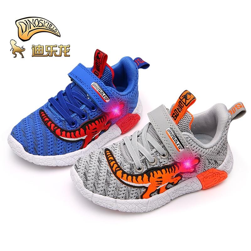 DINOSKULLS 2019 Children's Tennis Footwear Glowing 3 Boys Sneakers T-rex 5 Kids Led Light Dinosaur Shoes For Boy Mesh Breathable