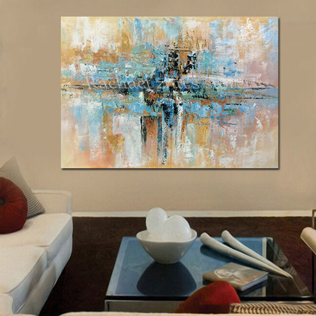 online shop hand painted modern abstract blue brown oil painting on