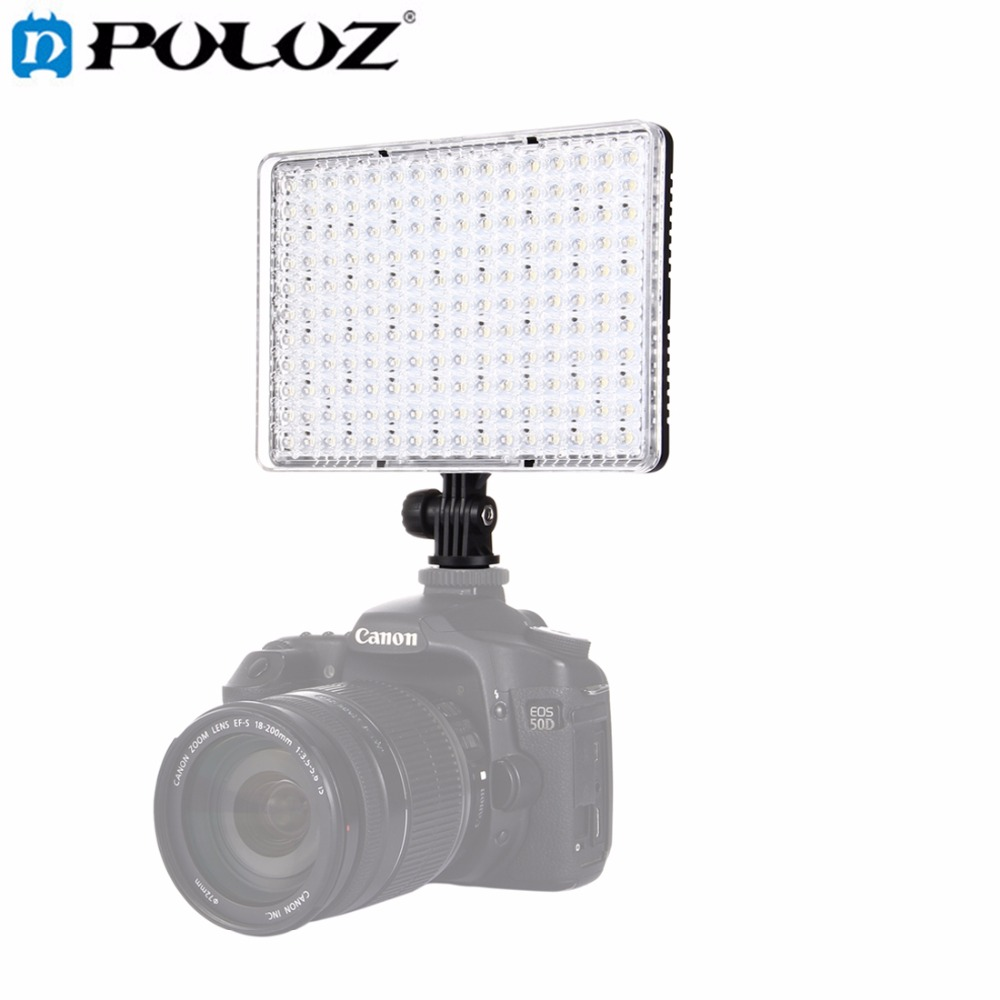 цены PULUZ 176 LEDs Video Lamp Photo Studio DSLR Camera Light Dimmable Photo Flash Light with 2 Filter Plates for Canon Nikon