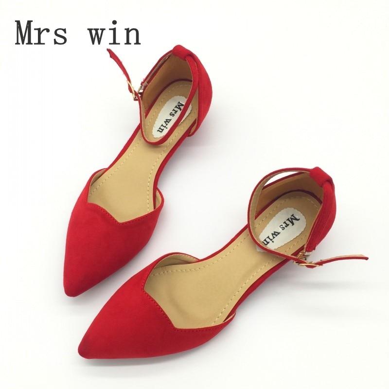 Mujeres atractivas hebilla Correa tacones bajos bombas primavera otoño punta Toe Flock D'Orsay talones zapatos para mujer zapatos de un solo azul