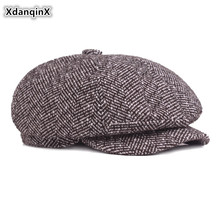 XdanqinX Middle-aged Mens Beret Autumn Winter Warm Wool Cap Men Simple Retro Dads Hats European American Style Fashion Hat