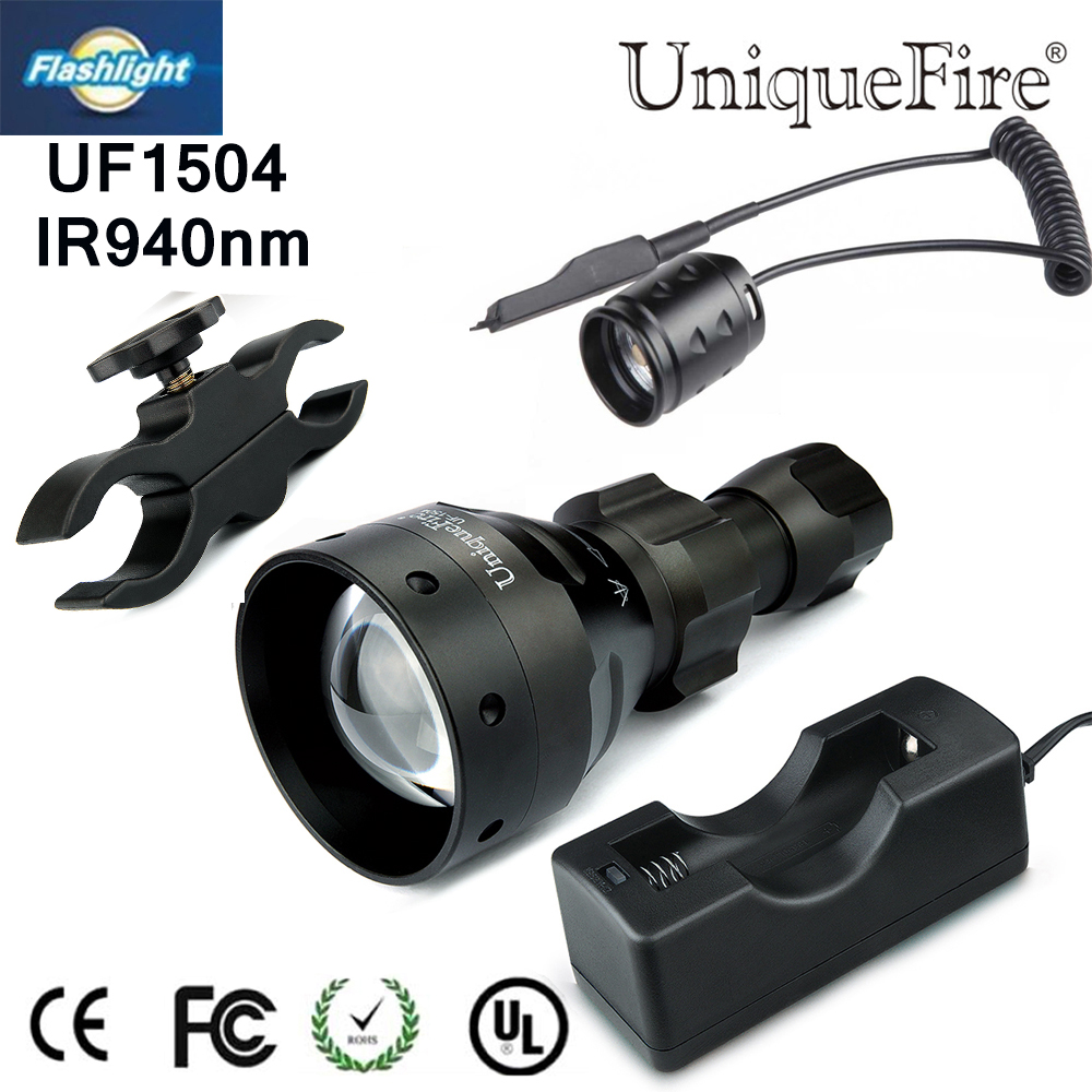 Uniquefire 1504 Zoomable LED Flashlight 3Modes IR940nm LED Torch+Charger+Tactical Remote+Scope Mount For Outdoor Hunting uniquefire night vision t67 flashlight uf 1405 ir 850nm led flashlight kit lamp torch remote pressure scope mount charger