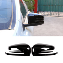 2 x Glossy Black ABS Chrome Side Door Rearview Mirror Cap Cover Trim For Mercedes Benz A CLA GLA GLK Class W176 W117 X156 X204