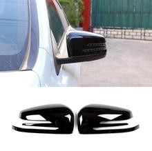 2 x Glossy Black ABS Chrome Side Door Rearview Mirror Cap Cover Trim For Mercedes Benz A CLA GLA GLK Class W176 W117 X156 X204 автомобильное зеркало cla glk abs