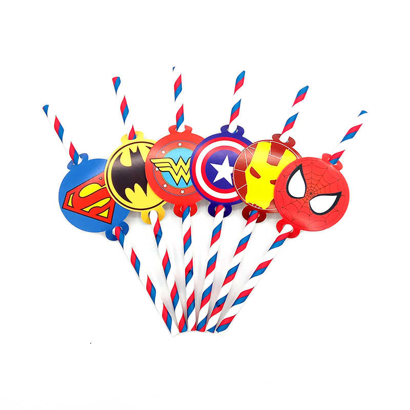 Perlengkapan Pesta 12 Pcs Super Pahlawan Justice League Avengers Tema Sedotan Party Deco Biodegradable Kertas Jerami Tabung Ramah Lingkungan