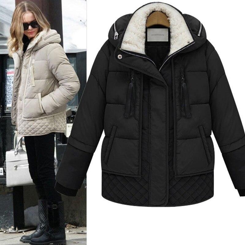 Women's Loose Long Lamb JACKET WOMAN Plus Size Thickening Military   Down   Jacket Female   Coat   Women Winter   Coats