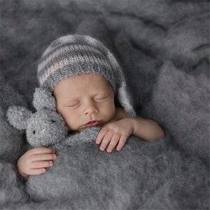 Image 2 - 20 Colors 60*60cm Fluffy Wool Fleece Newborn Blanket Basket Filler Stuffer Newborn Photography Props Super Soft Infant Blankets