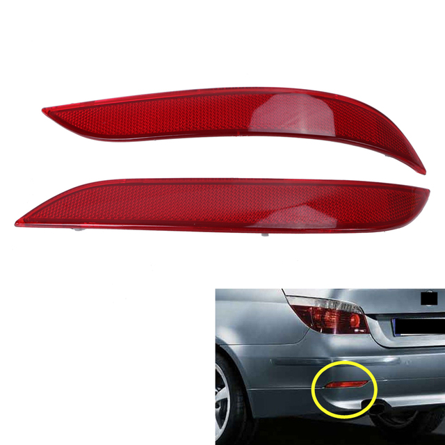 Left + Right Red Lens Rear Bumper Reflector Fog Warn Lights Strips For BMW E60 E61 5-Series 2003 - 2010 Car-Styling #W105