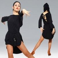 black split American latin dress tango latin ballroom dress dance wear chacha salsa dress modern dance costumes