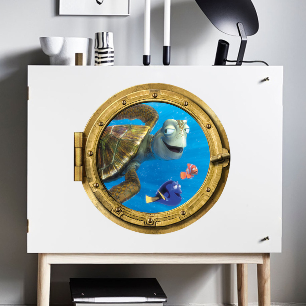 Bathroom wall art sea - Aliexpress Com Buy Ocean View Tortoise Fish 3d Wall Sticker Bathroom Decals Sea Wall Art For Kids Rooms Diy Home Decoration Underwater World From Reliable