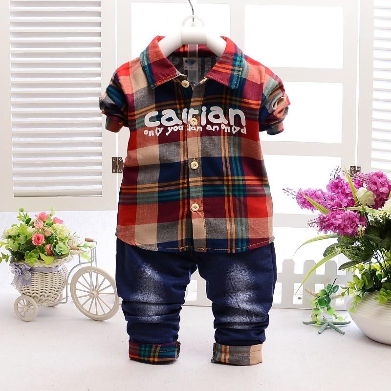 2017 New Toddler Boys Clothing Set Bomullskjortor + Jeans Kids - Barnkläder
