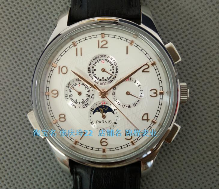 ФОТО 44MM PARNIS Automatic Self-Wind movement white dial multi-funtion men's watch Mechanical watches 129A