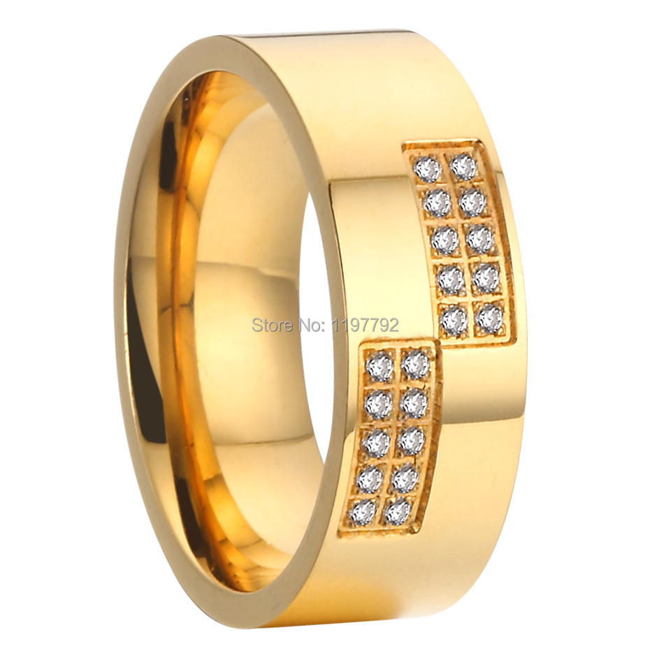 2015 beautiful gold colour pure titanium steel cz stone big womens ...