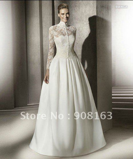 2012 Style ! New Arrival White Satin Lace Top Long Sleeve Wedding Dress 2012 83823f75838a