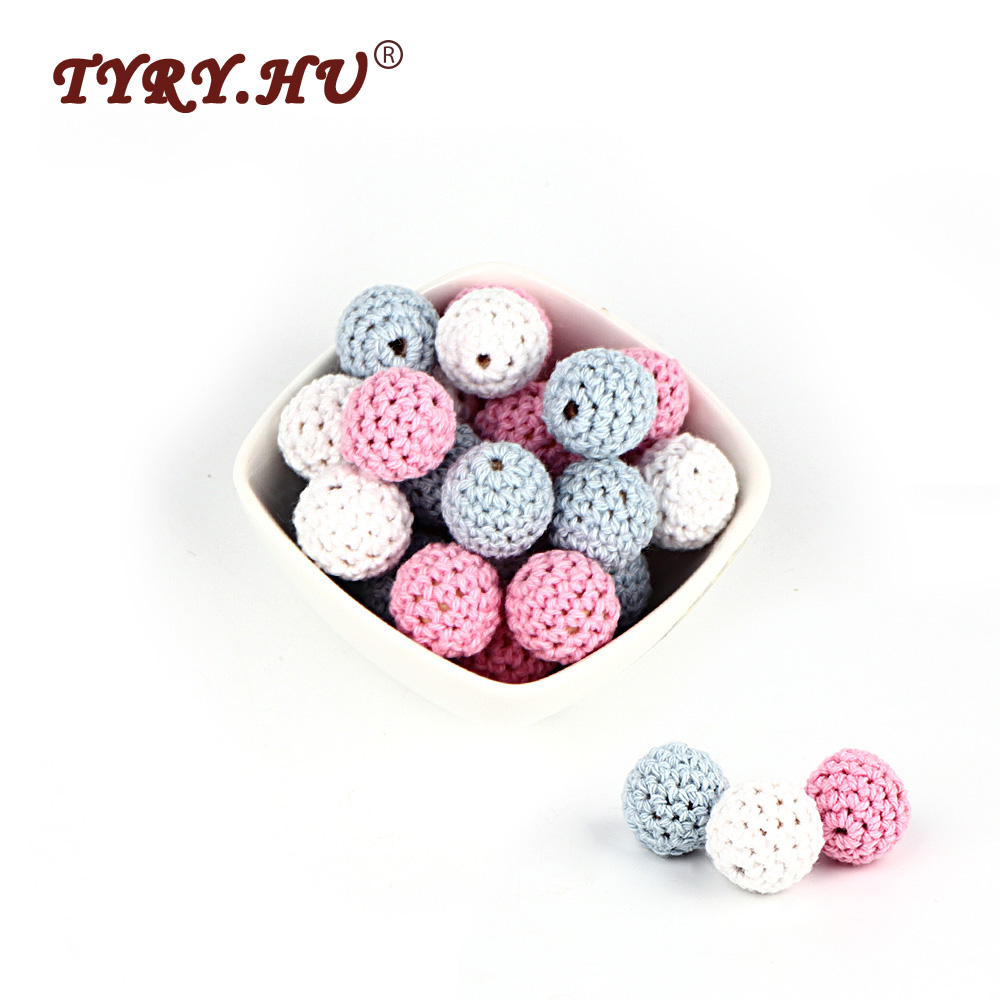 TYRY.HU 30Pcs Natural Wooden Beads Round 16MM Chewable Tooth Nursing Crochet Beads Baby Teething Teether Toys Baby Shower Gift