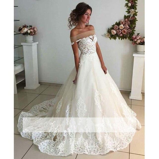 1e97fb243f8 Off The Shoulder Vestido De Noiva 2018 Muslim Wedding Dresses Ball Gown Lace  Dubai Arabic Boho Wedding Gown Bridal Dresses