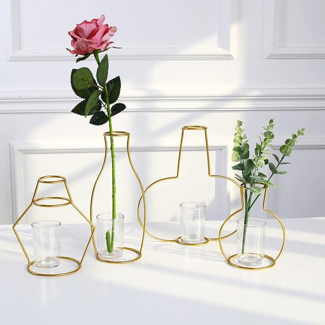 Vases nordique métal doré