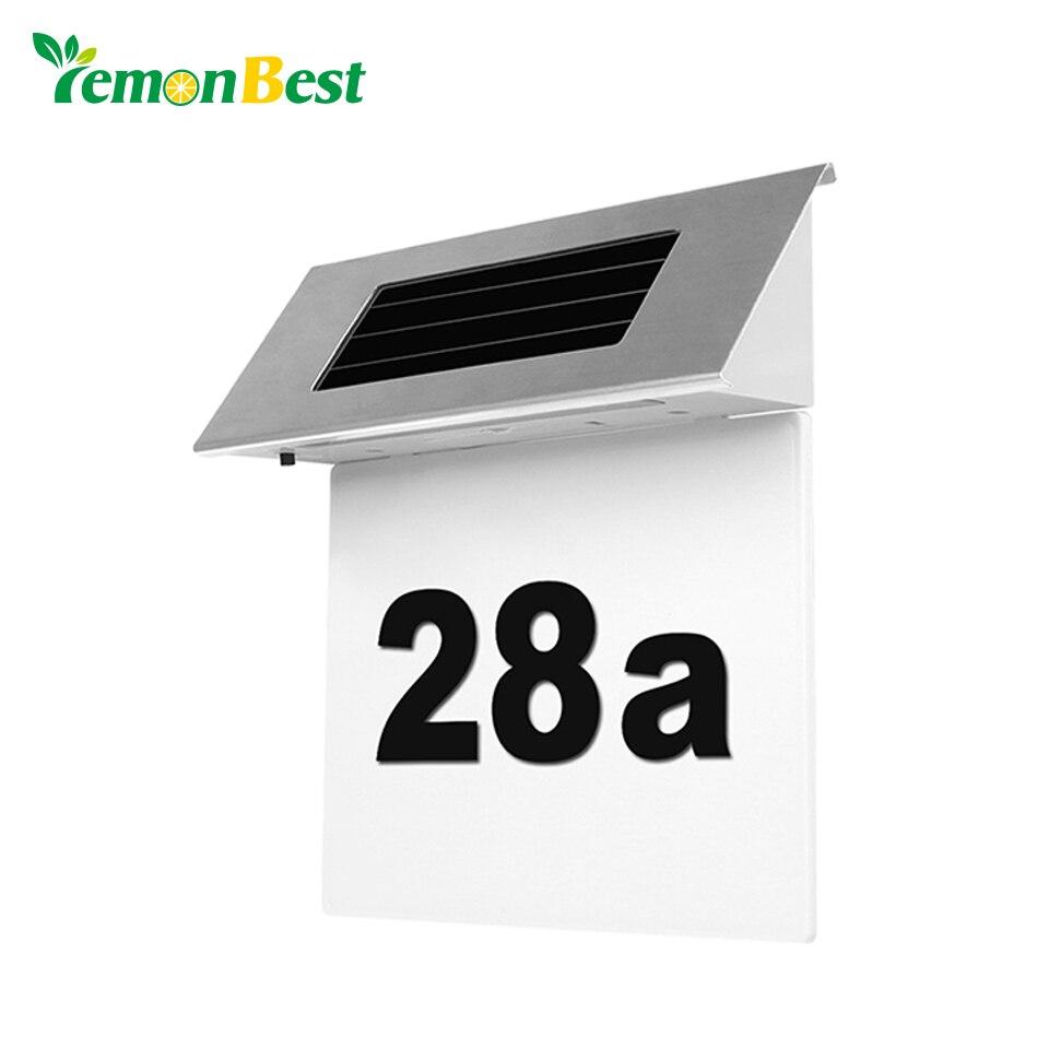 Sicherheit Solar-türschild Anzahl Außenbeleuchtung Billboard Licht Edelstahl Haus Wohnung Anzahl Light-betrieben Lampe SorgfäLtige FäRbeprozesse Licht & Beleuchtung