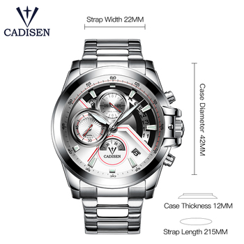 CADISEN Men's Luxury Stainless Steel Waterproof Quartz Watches 1