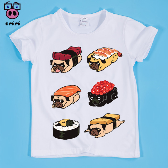 4db746d355 Ready Stock,Size(90-160cm) Children's Sushi Dog Cute Design Print T-shirt  Boy and Girl Sushi Cat/Panda/Sloth/Pug Tee Shirt