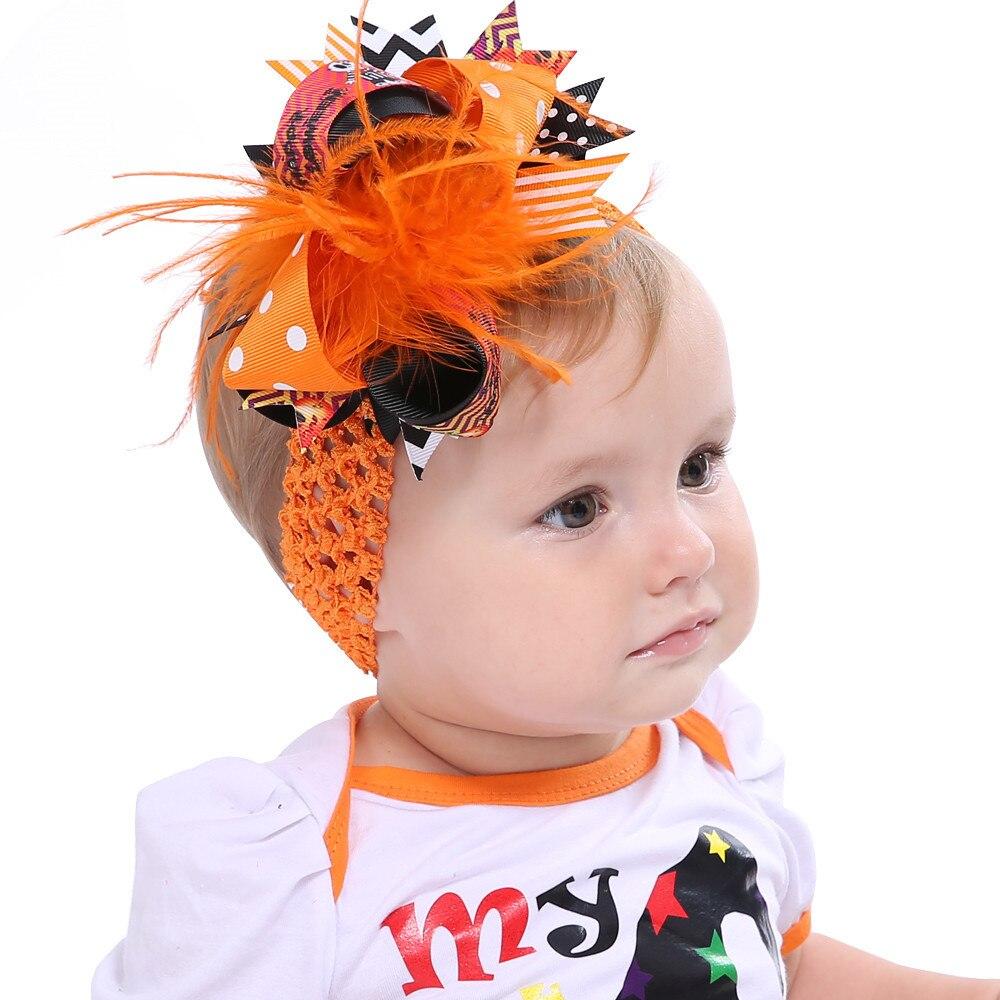 2017 Fashion Halloween Toddler Baby Kids Girls Feather Bowknot Hairpin Headdress