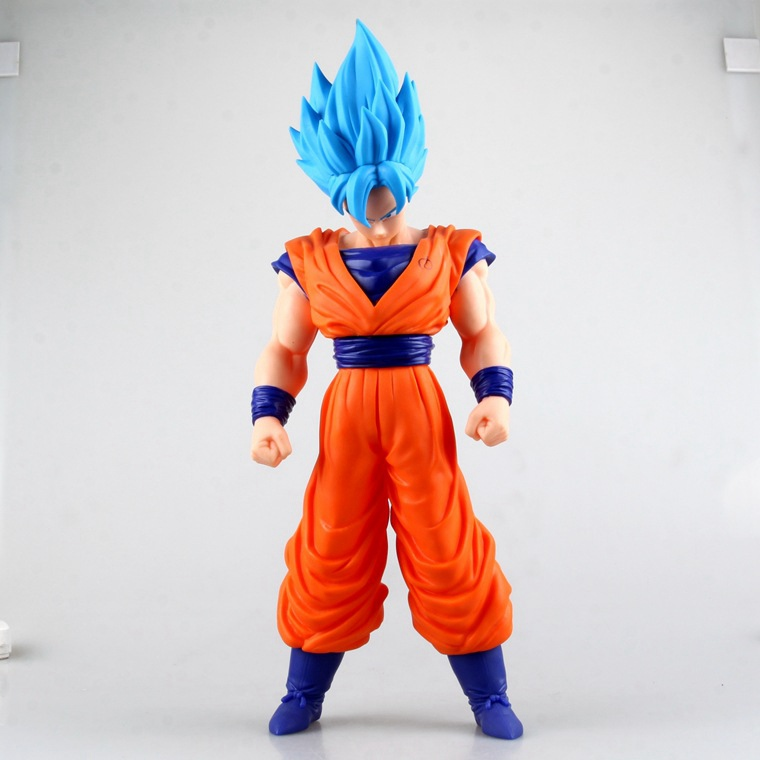 1 Pcs Japan Anime Dragon Ball Z Son Gokou Action Figure Dragon Ball Son Goku Blue Hairs PVC Large 42 CM Figure Model Classic Toy genuine bandai exclusive tamashii nation 10th anniversary s h figuarts dragon ball z son gokou goku kaiohken ver action figure