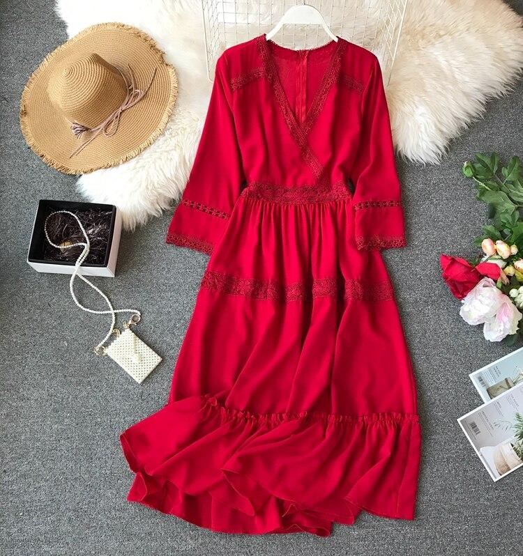 Women Bohemian Dress Lady Half Sleeve V Neck Red and White Beach Holiday Elegant Vestidos E152 3