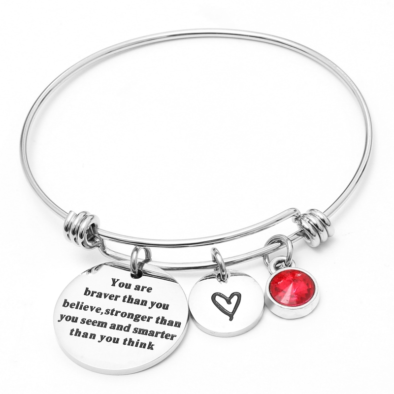 12 colors Birthstones Heart Charm Bracelet Inspirational Quote Wire Bangle for Women Friends Birthday Gift Jewelry Youre Braver