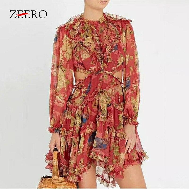 女性プリントドレスな背中ランタンスリーブハイウエストドレープミニドレス女性服ドレス Vestidos  グループ上の レディース衣服 からの ドレス の中 1
