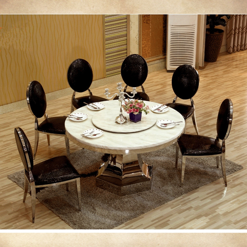 8 seater big round dining table with turntable marble top dining table with stainless steel fram