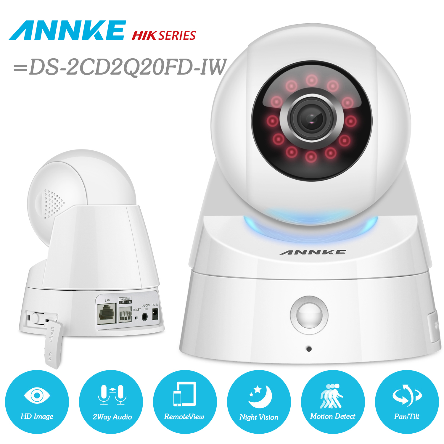 ANNKE Full HD 1080p Wireless Wi-Fi IP Camera Audio 2.0MP Sensor Infrared Motion Detection PIR Alarm =HIK DS-2CD2Q20FD-IW hik ip camera ds 2cd4026fwd ap ultra low light 128gb onvif rj45 intrusion detection face detection recognition