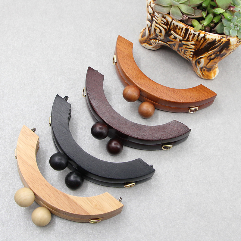 1 Piece brown Color Solid Wood Material 14 CM Wooden Purse Frame Purse Handle Clasp Sangle Sac Bag Hardware Wood Purse Handle