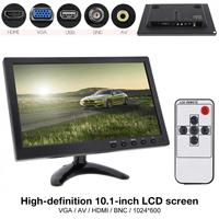 10.1 Inch HD IPS TFT LCD Car Monitor Mini TV Computer 2 Channel Video Input Security Monitor with Speaker HDMI AV BNC VGA